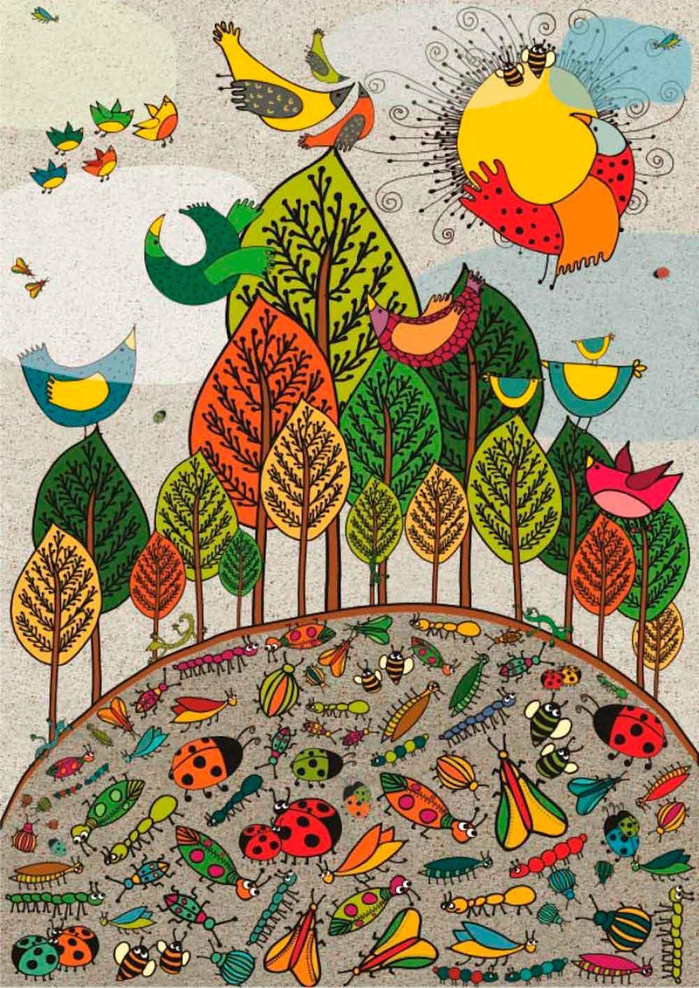 Puzzle Deico Pájaros y Bichos de 1000 Piezas