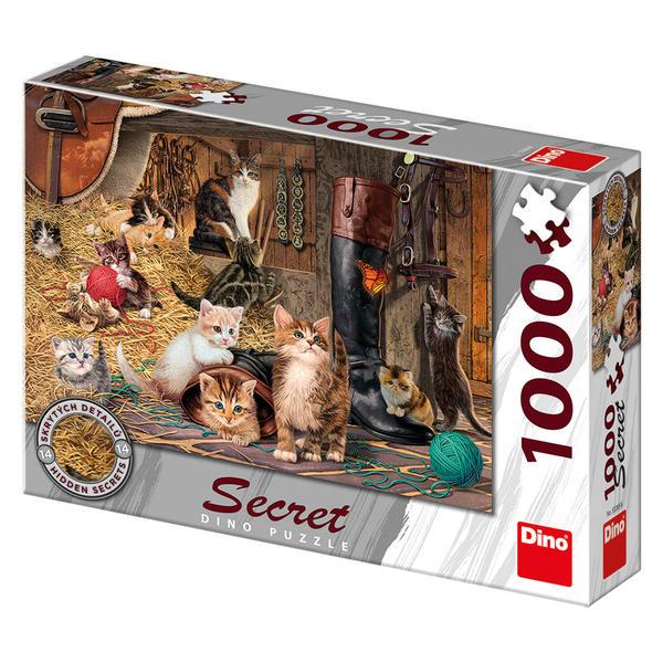 Puzzle Dino Gatitos en el Granero de 1000 Piezas