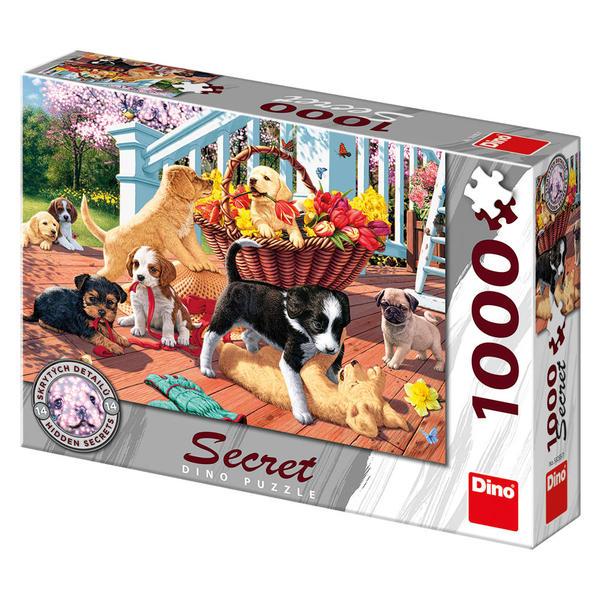 Puzzle Dino Cachorros de Perros en el Porche de 1000 Piezas