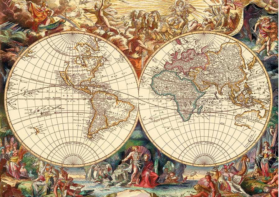Puzzle Dino Mapa Histórico de 1000 Piezas