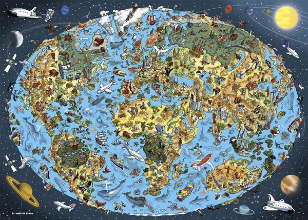 Puzzle Dino Mapamundi Ilustrado de 1000 Piezas