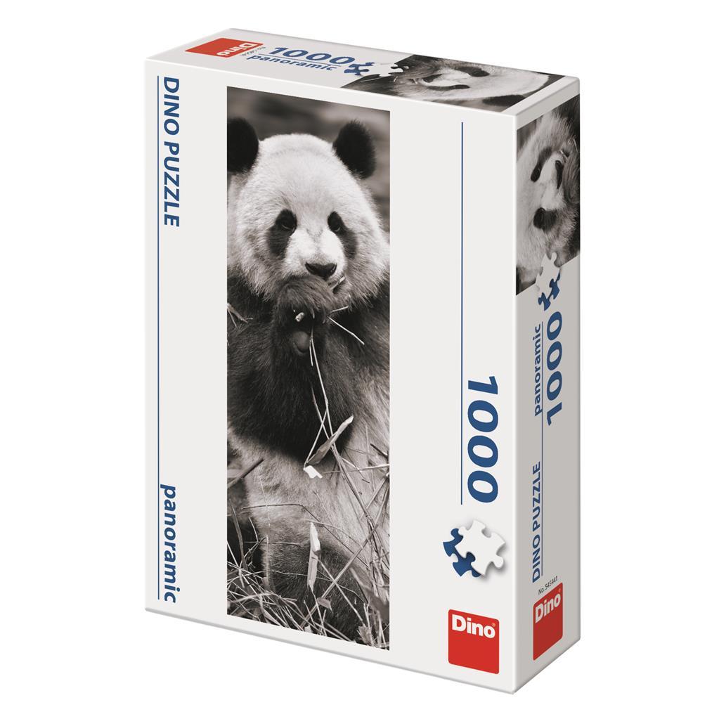 Puzzle Dino Panda en la Hierba Panorámico de 1000 Piezas