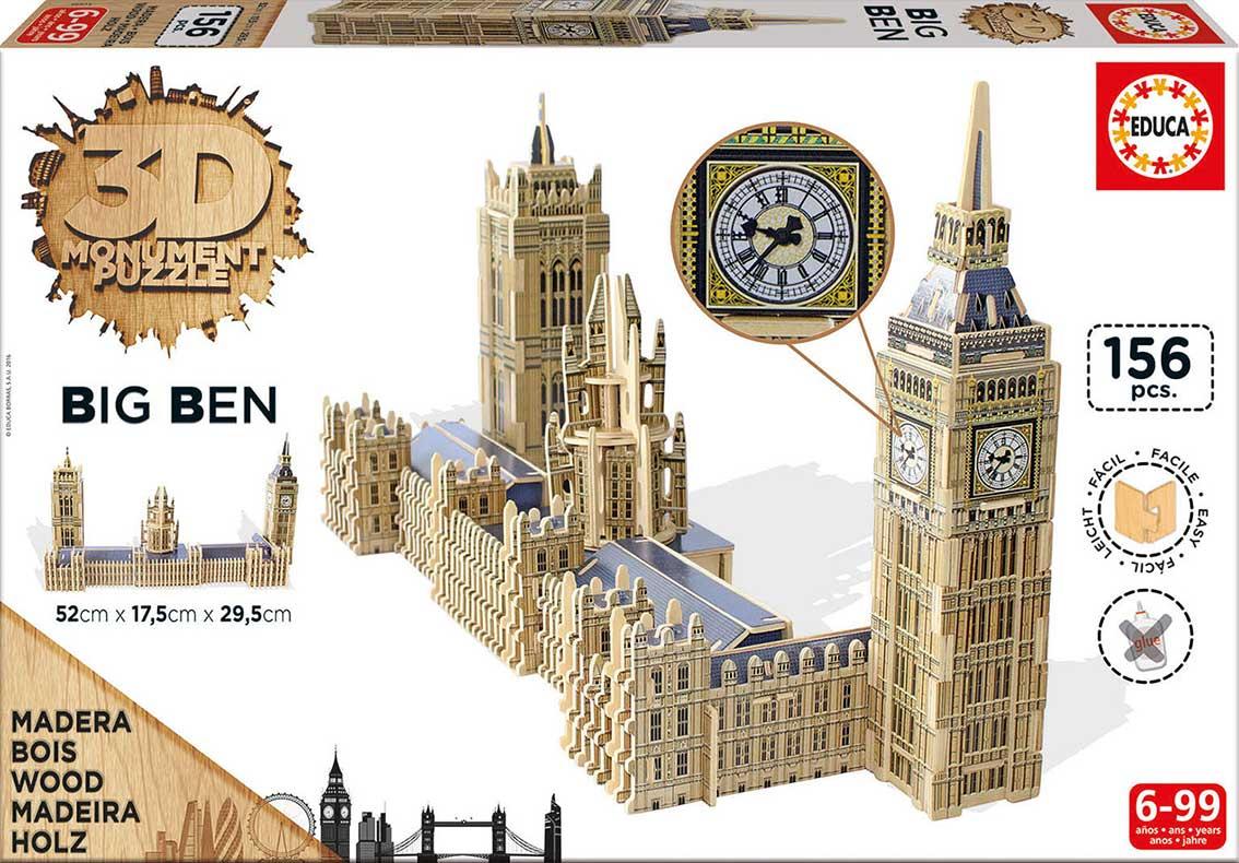 Puzzle Educa 3D Big Ben y Parlamento de Londres de 156 Piezas