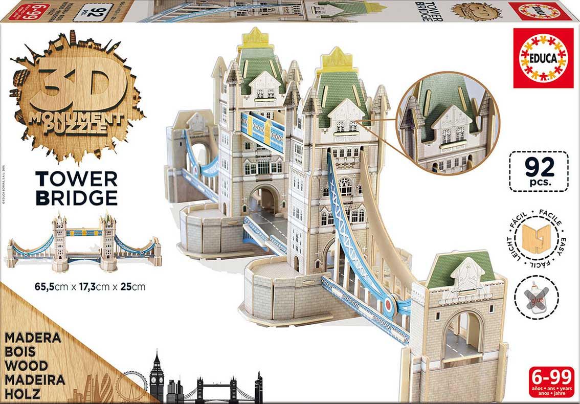 Puzzle Educa 3D Puente de las Torres de Londres 92 Piezas