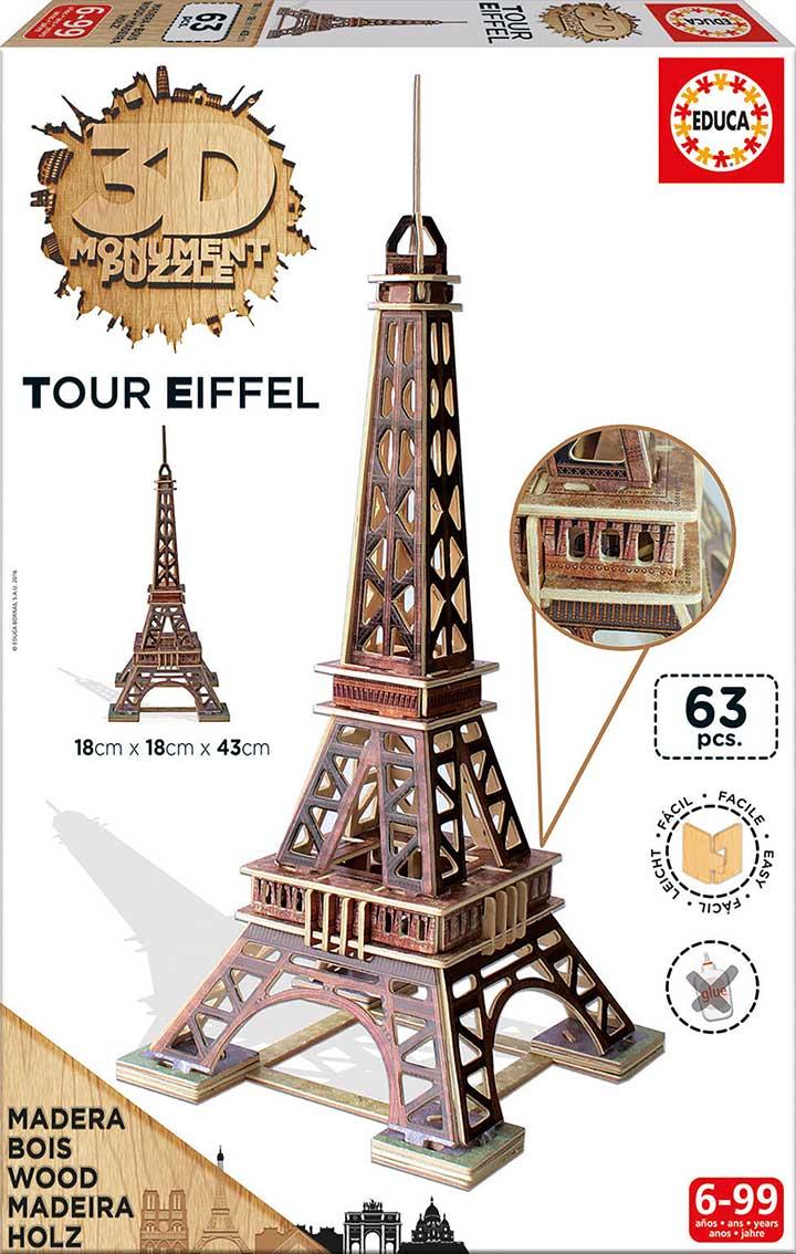 Puzzle Educa 3D Torre Eiffel de Madera 63 Piezas