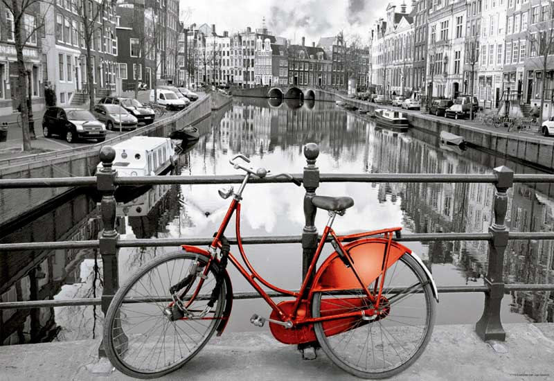 Puzzle Educa Amsterdam, La Bicicleta Roja 1000 Piezas Miniature