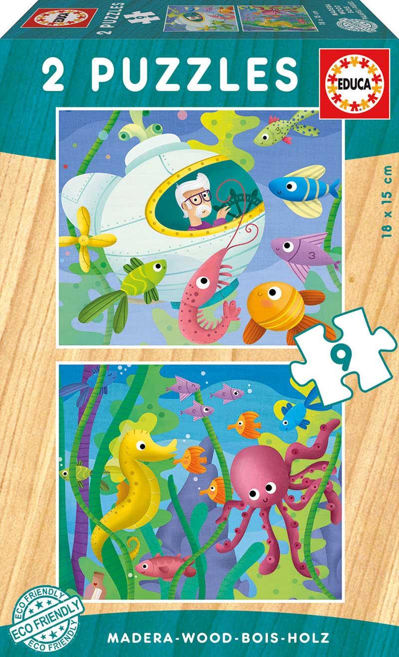 Puzzle Educa Animales Acuáticos de 2 x 9 Piezas Madera