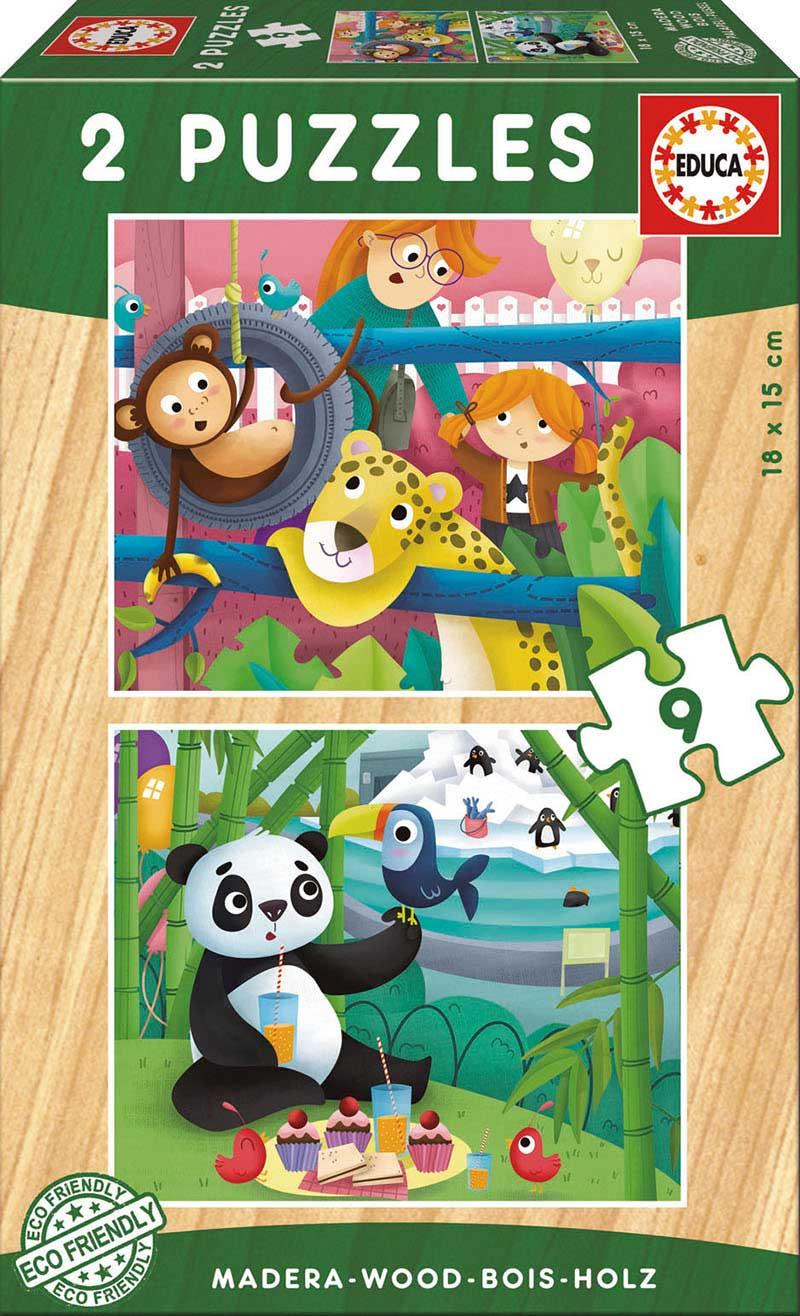 Puzzle Educa Animales del Zoo de 2 x 9 Piezas Madera
