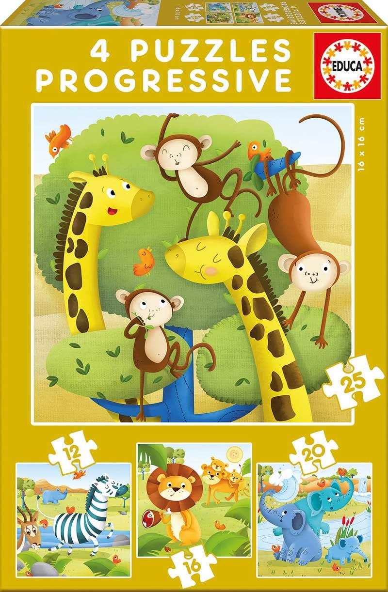 Puzzle Educa Animales Salvajes Progresivos 12+16+20+25 Pzs