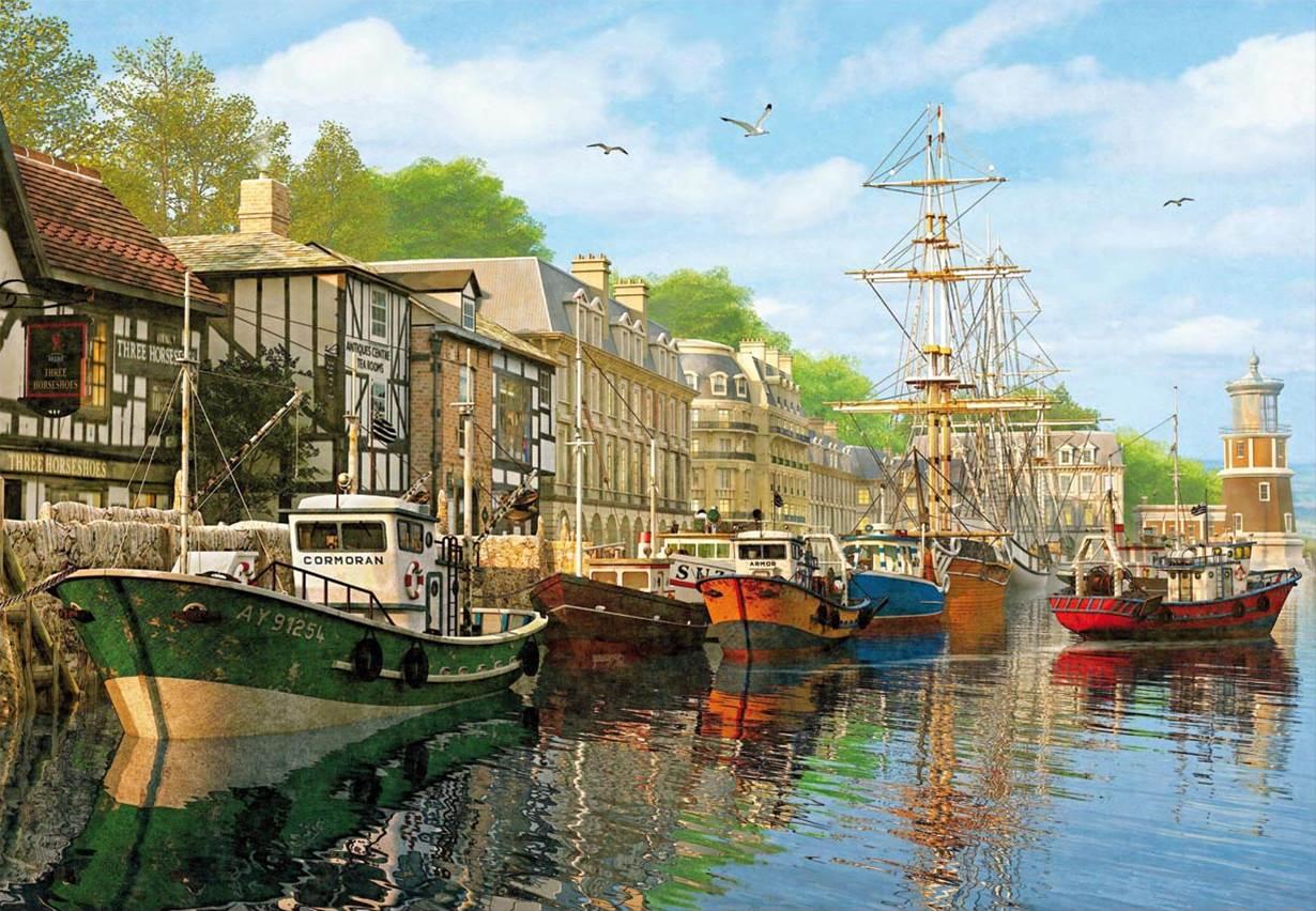 Puzzle Educa Barcas en el Muelle de 2000 Piezas