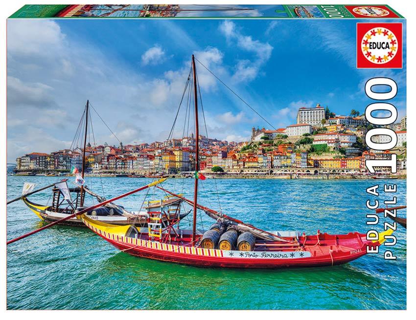 Puzzle Educa Barcos Rabelos, Oporto de 1000 Piezas