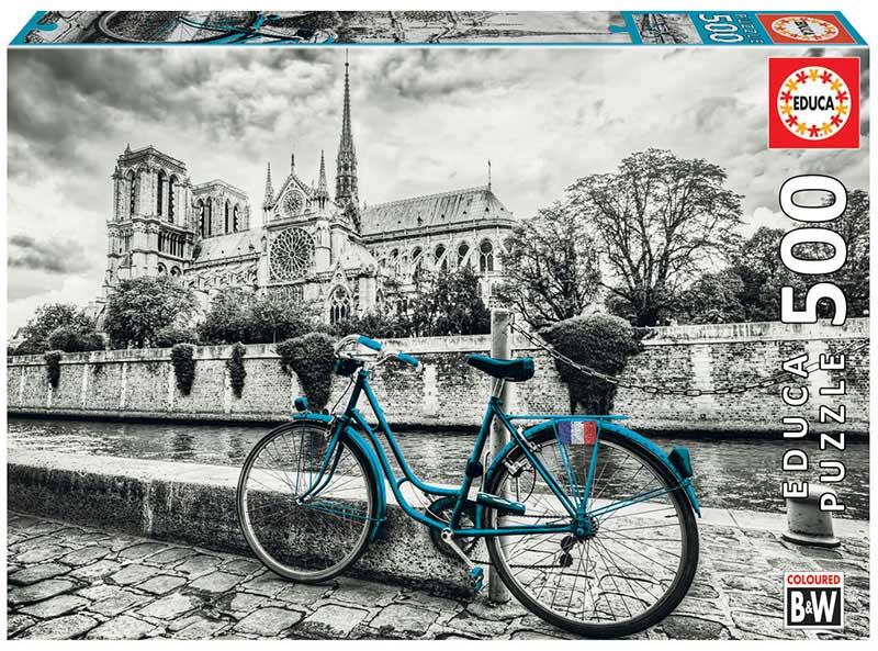 Puzzle Educa Bicicleta cerca de Notre Dame de 500 Piezas