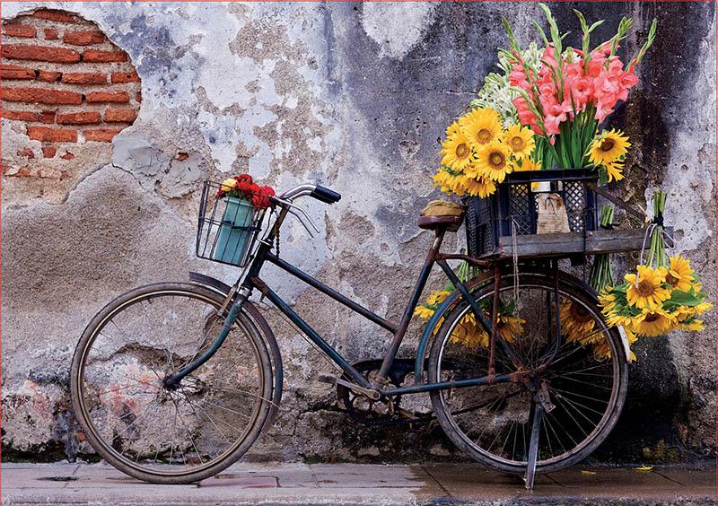 Puzzle Educa Bicicleta con Flores de 500 Piezas