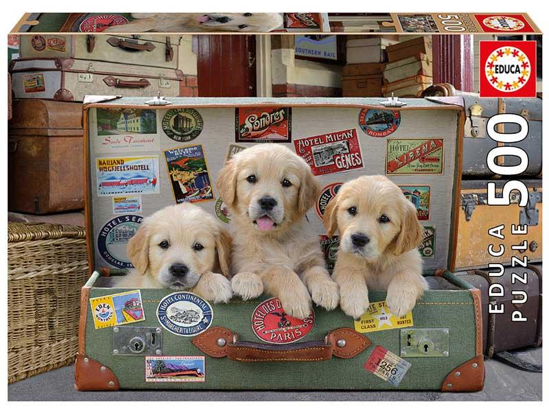 Puzzle Educa Cachorros en el Equipaje de 500 Piezas