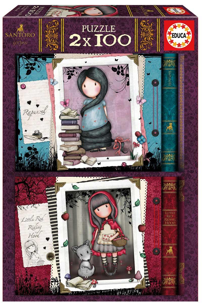 Puzzle Educa Caperucita Roja y Rapunzel Gorjuss 2 x 100 Pzs