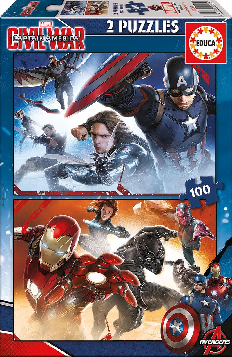 Puzzle Educa Capitán América, Civil War 2 x 100 Piezas