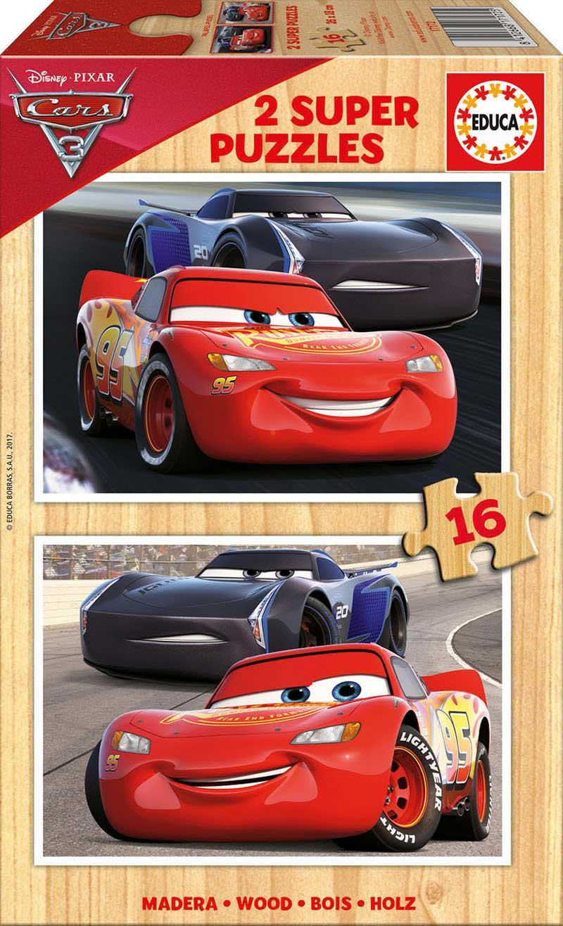 Puzzle Educa Cars 3 de 2 x 16 Piezas Madera