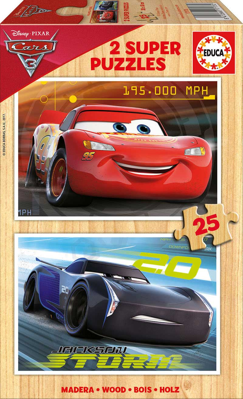 Puzzle Educa Cars 3 de 2 x 25 Piezas Madera