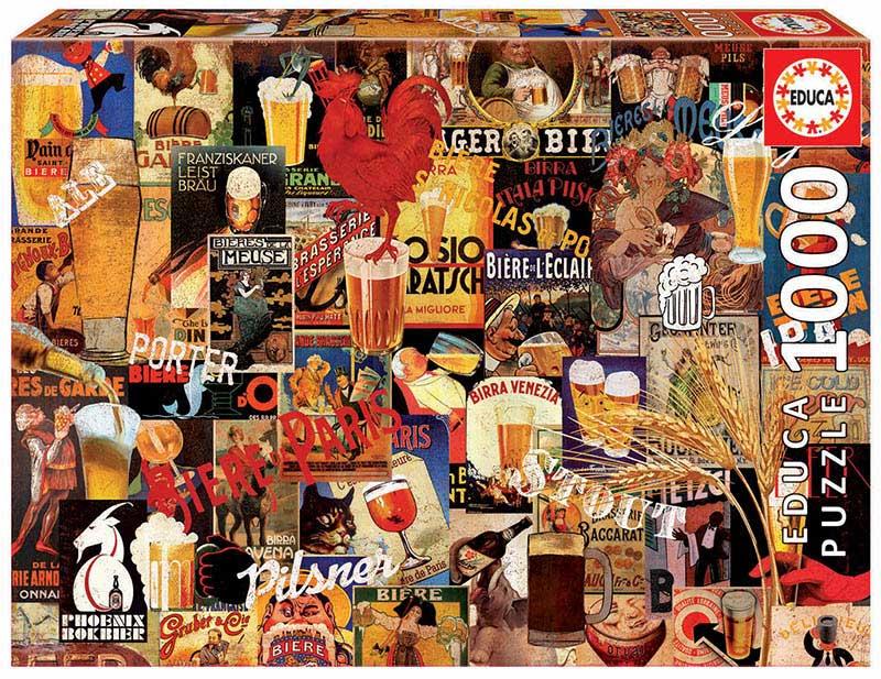 Puzzle Educa Collage de Cervezas Vintage de 1000 Piezas
