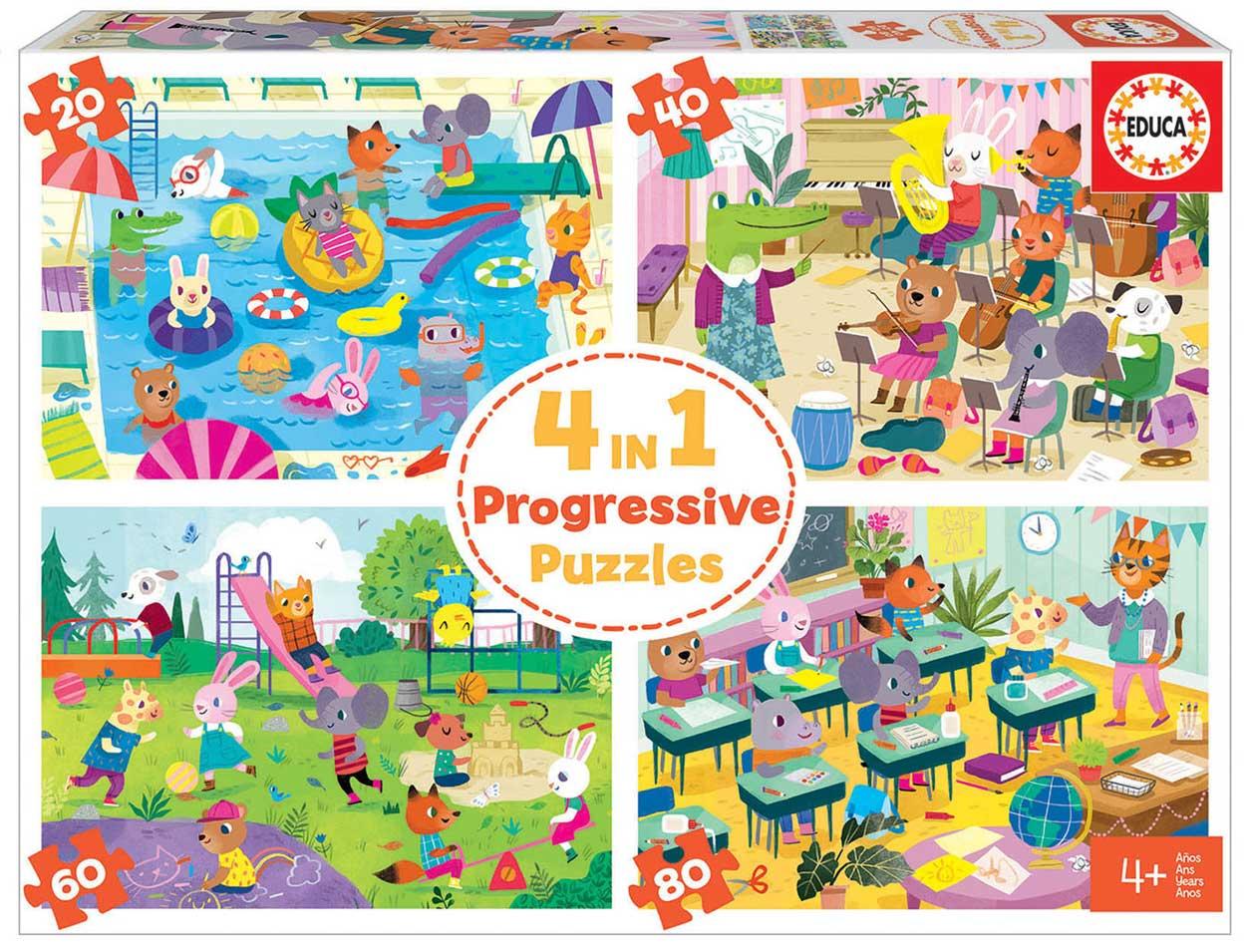 Puzzle Educa Día en la Escuela Multi Progresivo 20+40+60+80 pzs