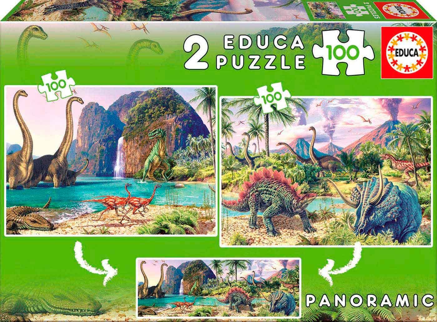 Puzzle Educa Dino World 2 x 100 Piezas