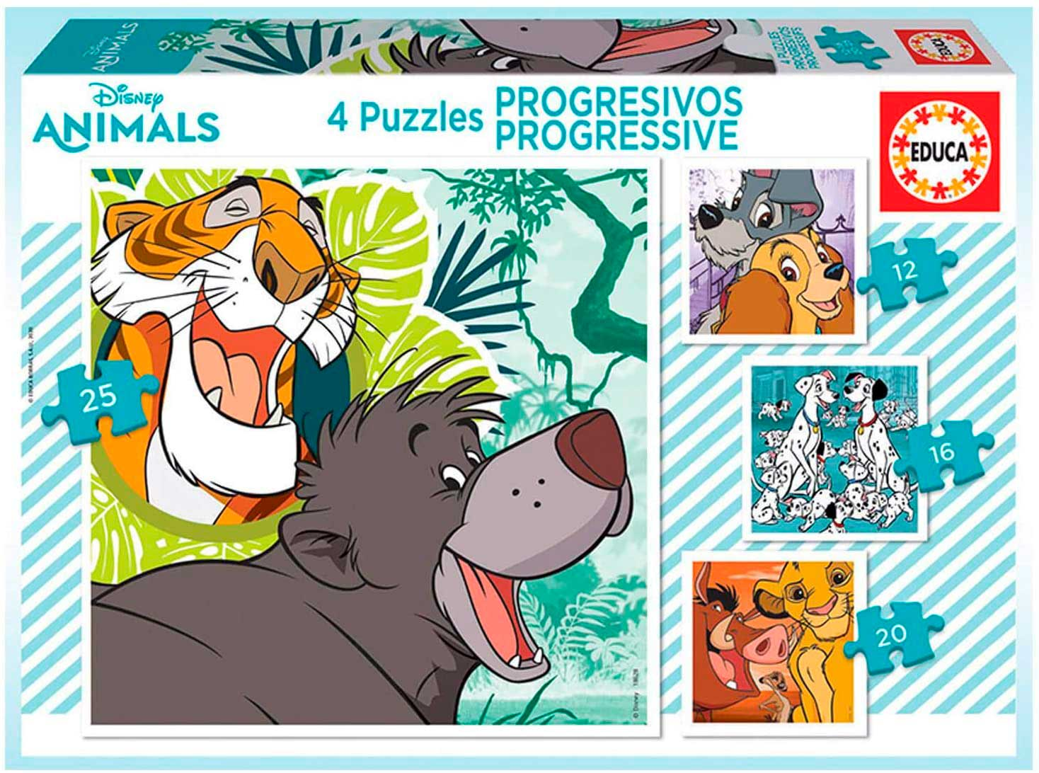 Puzzle Educa Disney Animals 2 Progresivo 12+16+20+25 Pzs