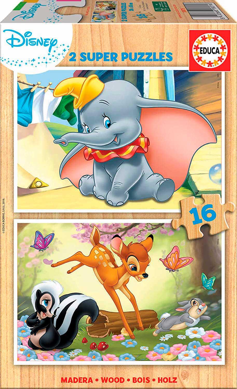 Puzzle Educa Disney Animals de 2 x 16 Piezas Madera
