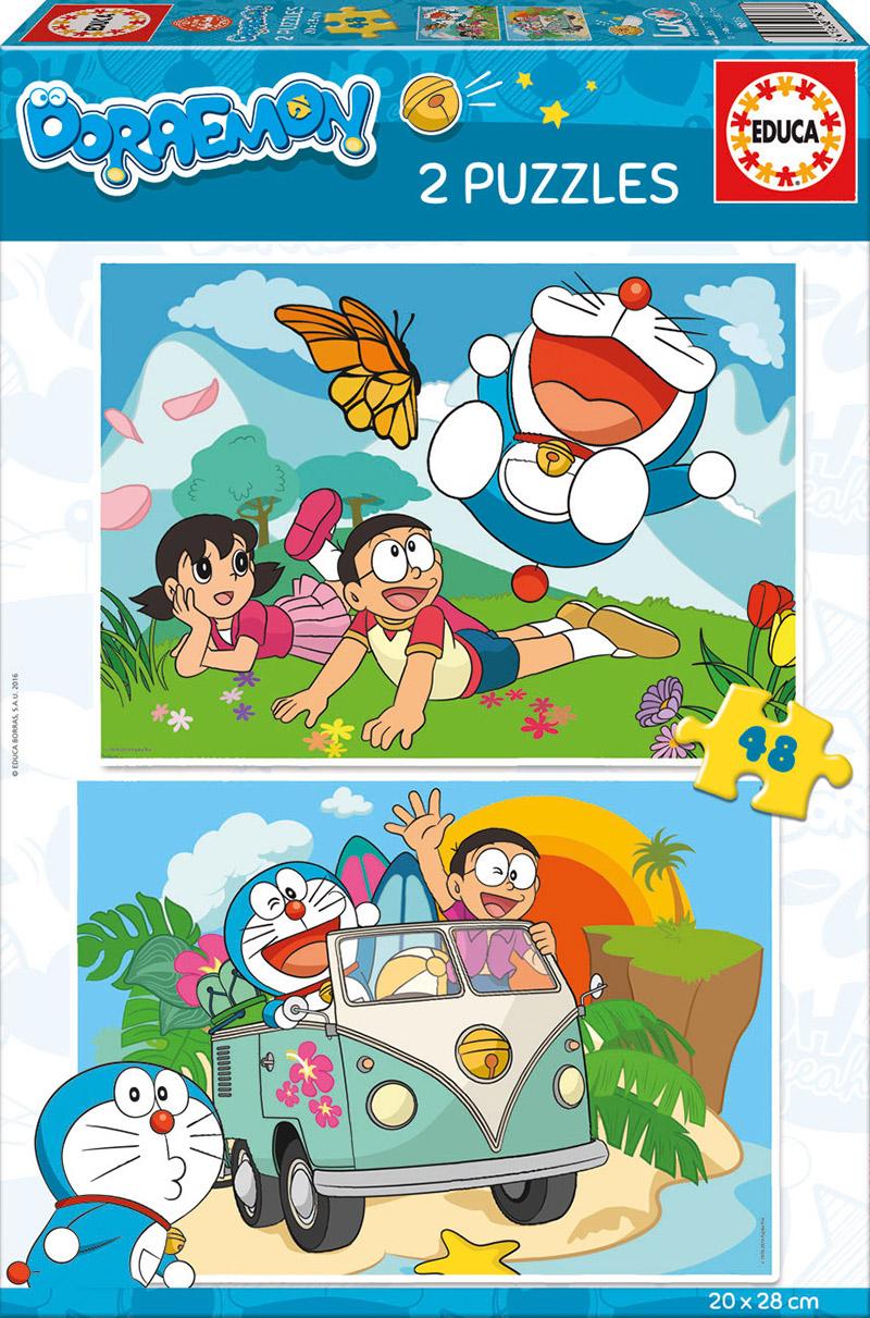 Puzzle Educa Doraemon, El Gato Cósmico de 2 x 48 Piezas