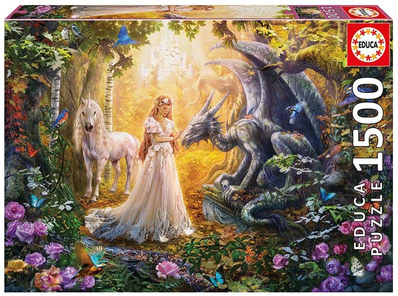 Puzzle Educa Dragón, Princesas y Unicornios de 1500 Piezas