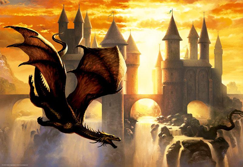 Puzzle Educa Dragones al Atardecer de 1000 Piezas