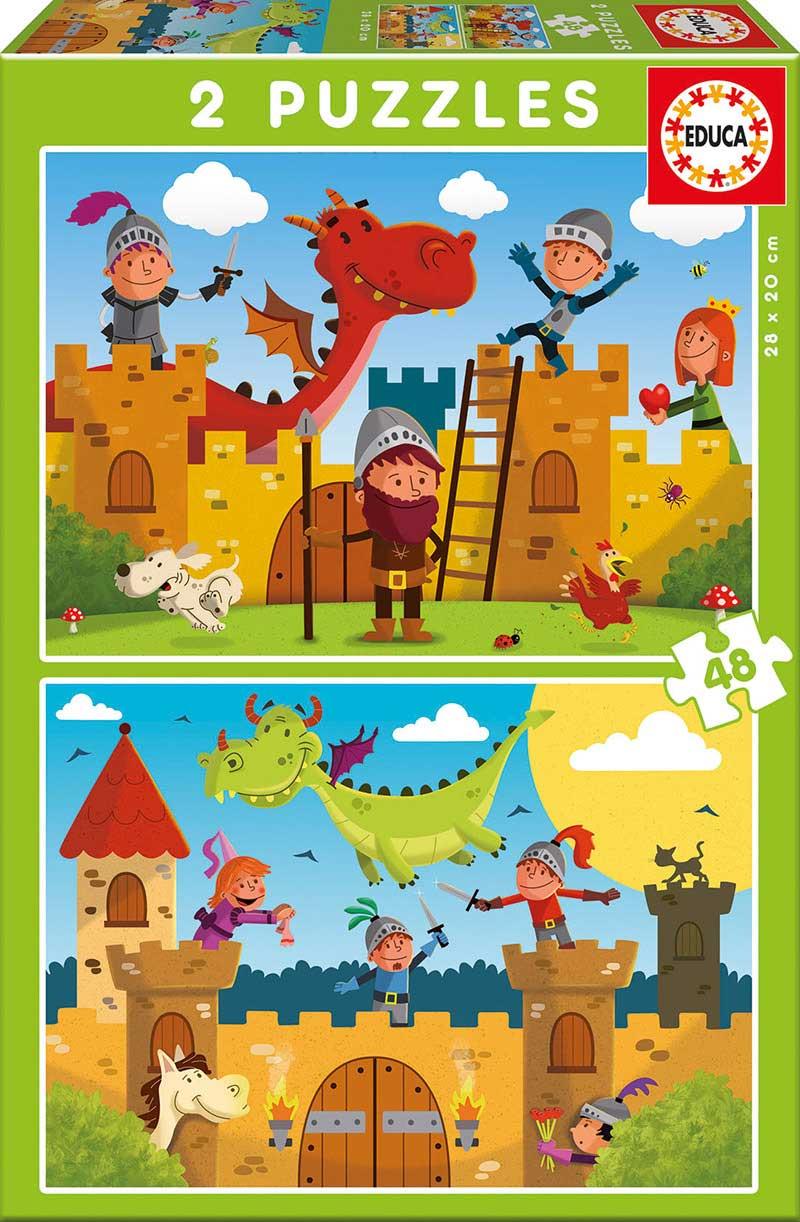 Puzzle Educa Dragones y Caballeros de 2 x 48 Piezas