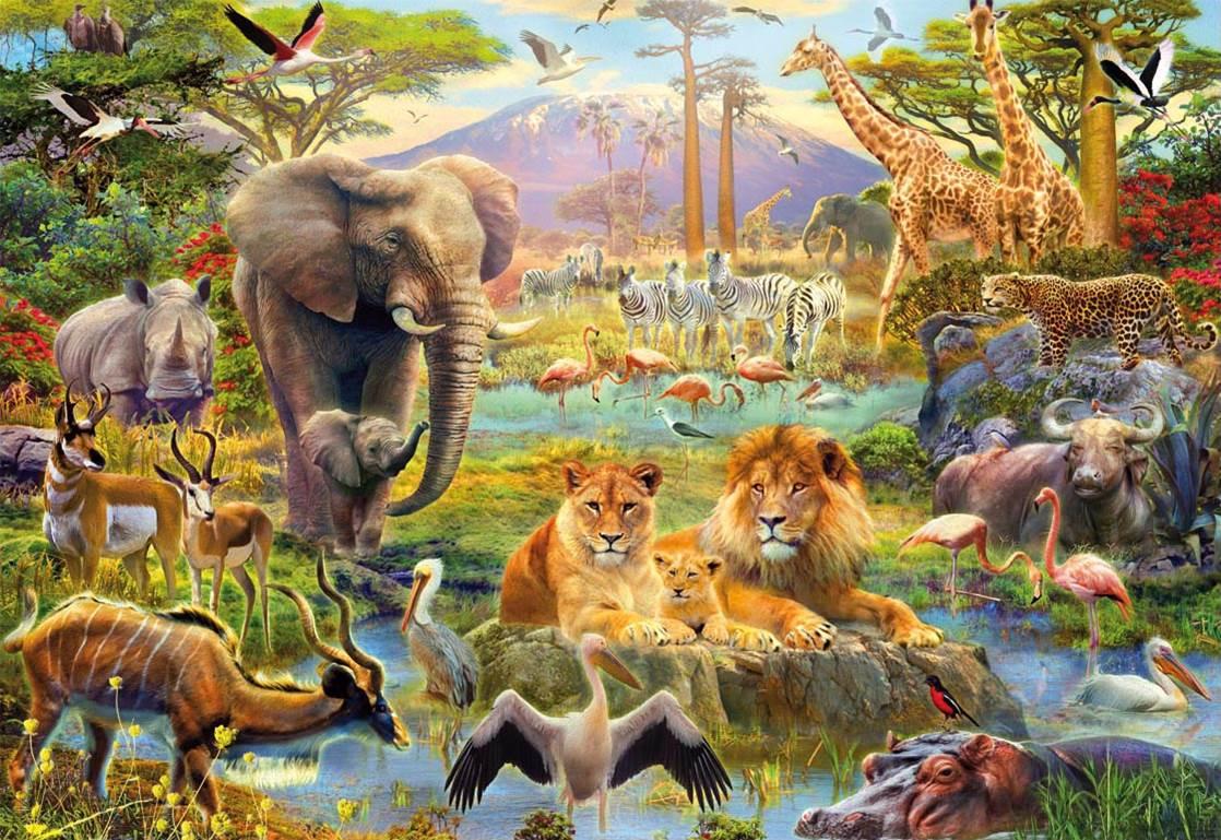 Puzzle Educa El Abrevadero de Africa de 1500 Piezas