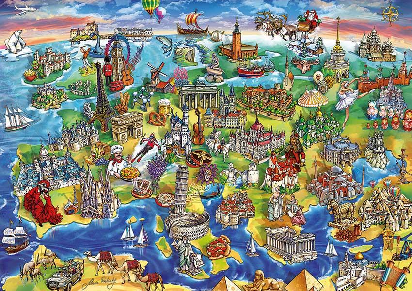 Puzzle Educa Europa en el Mundo 1000 Piezas