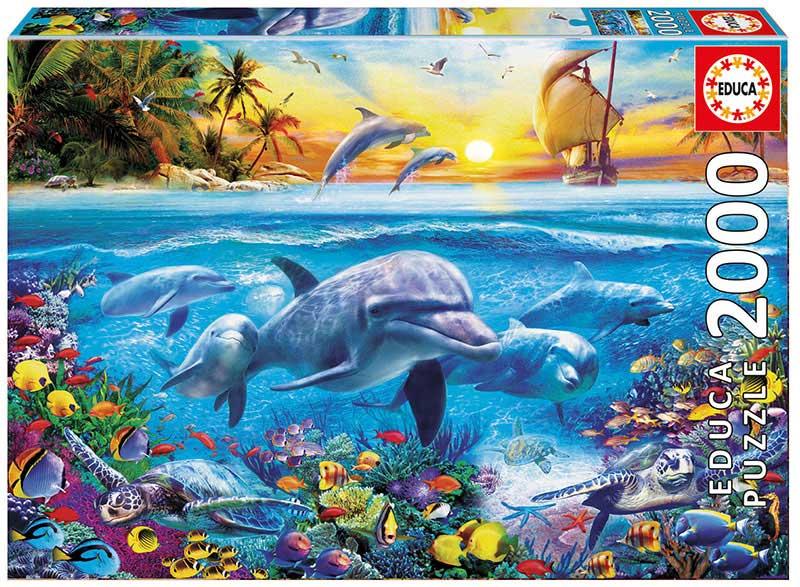 Puzzle Educa Familia de Delfines de 2000 Piezas
