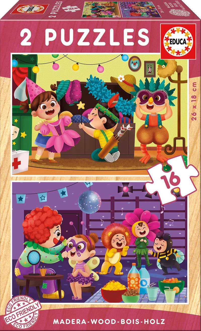 Puzzle Educa Fiesta de Disfraces de 2 x 16 Piezas Madera