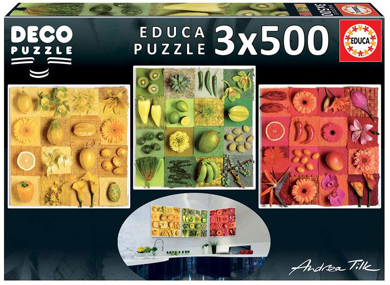 Puzzle Educa Flores y Frutas Exóticas de 3 x 500 Piezas
