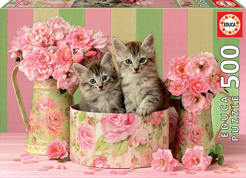 Puzzle Educa Gatitos con Rosas de 500 Piezas