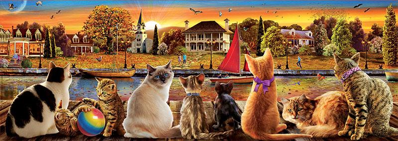 Puzzle Educa Gatos en el Embarcadero de 1000 Piezas