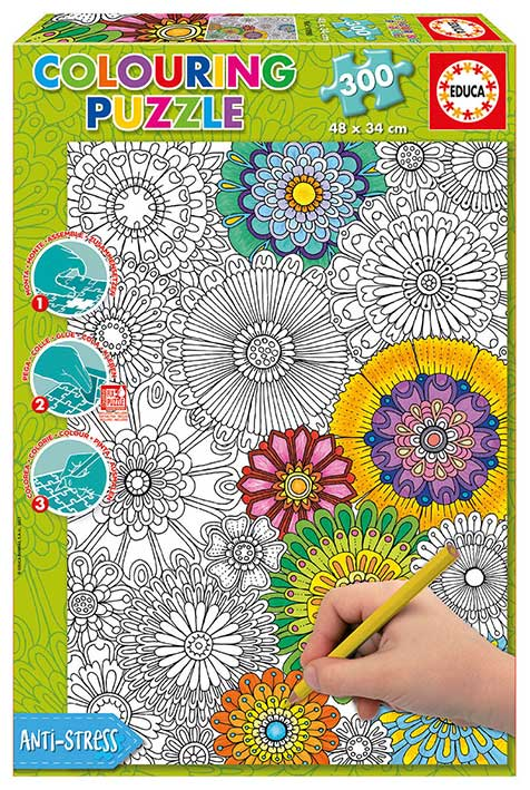Puzzle Educa Grandes Flores Hermosas coloréame de 300 Piezas