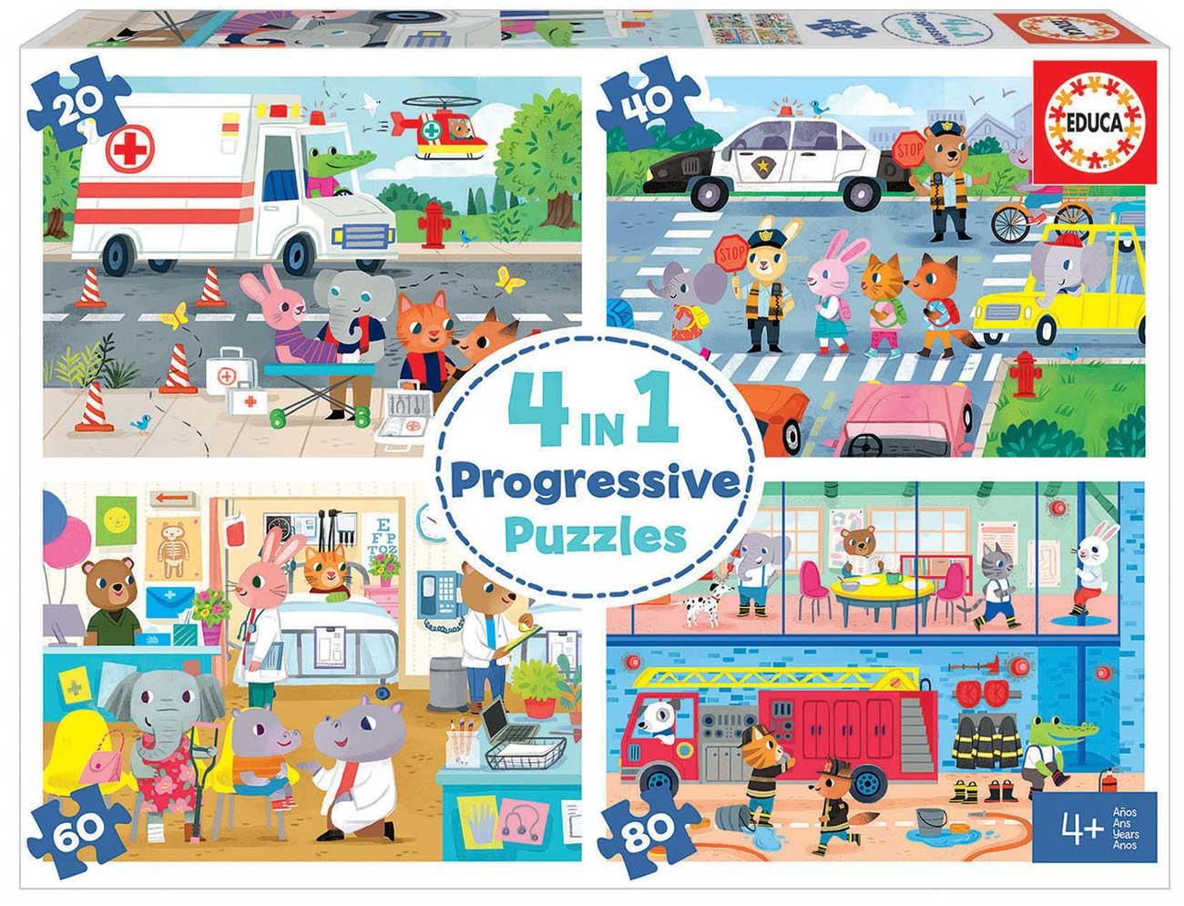Puzzle Educa Héroes en Acción Multi Progresivo 20+40+60+80 pzs