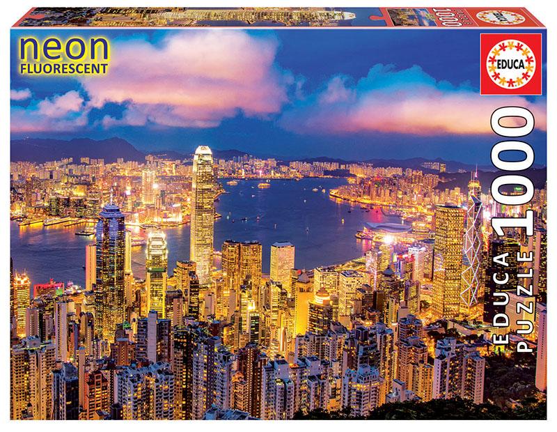 Puzzle Educa Hong Kong Efecto Neón de 1000 Piezas