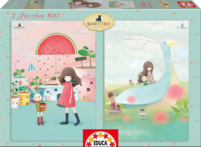 Puzzle Educa La Lluvia y El Barco 2 x 100 Piezas