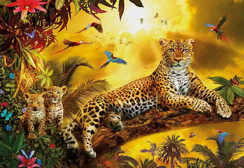 Puzzle Educa Leopardo con sus Cachorros de 500 Piezas