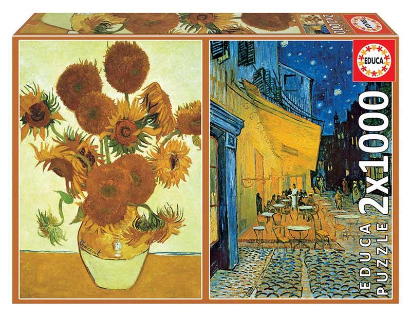 Puzzle Educa Los Girasoles y Terraza de Noche,V.V.Gogh de 2x1000