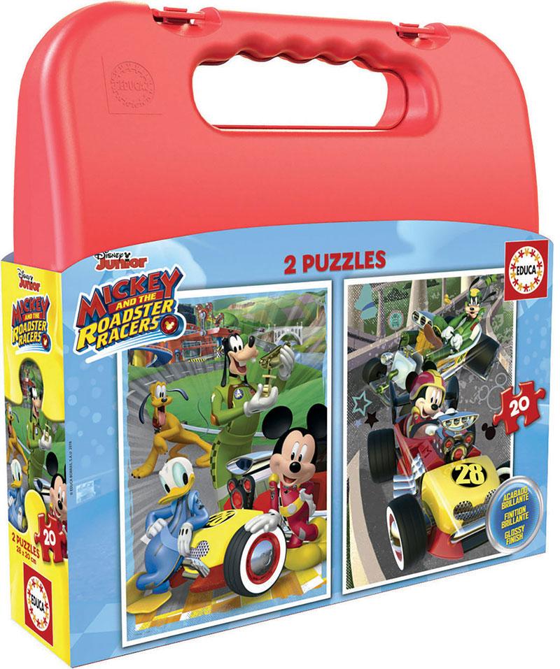 Puzzle Educa Maleta Mickey y los Superpilotos de 2 x 20 Piezas