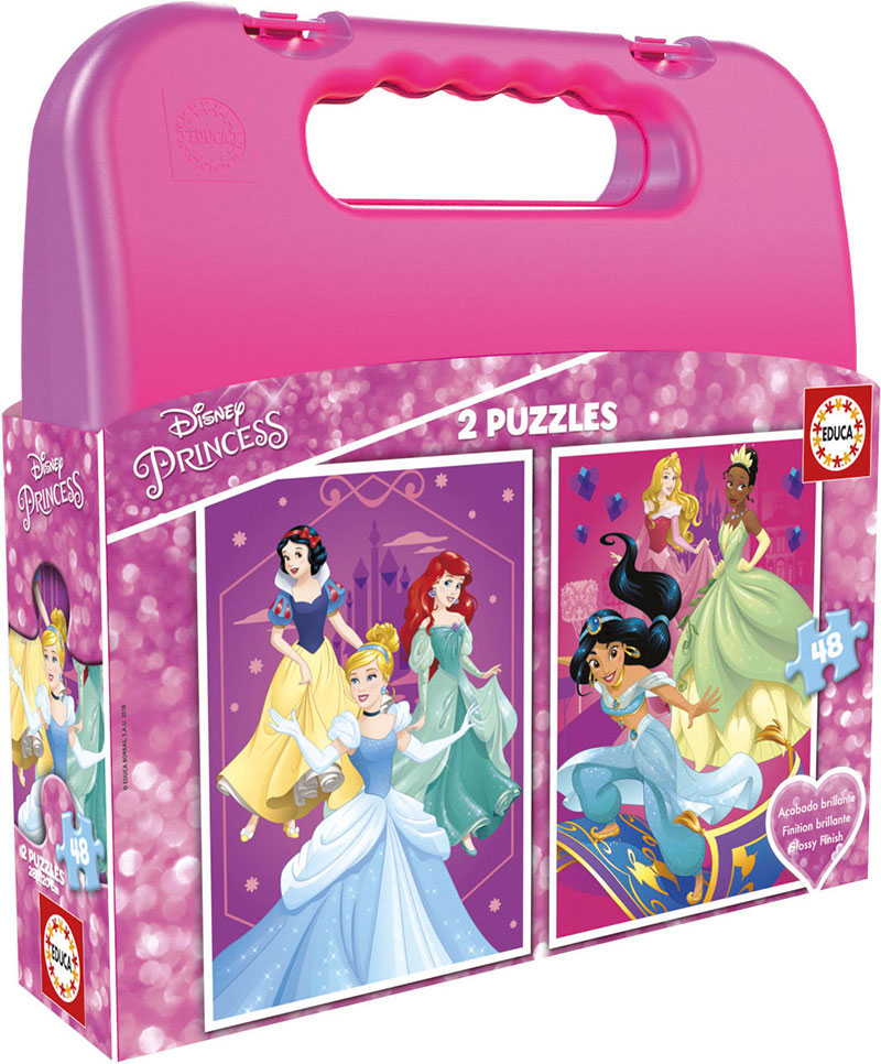 Puzzle Educa Maleta Princesas Disney 2 x 48 Piezas