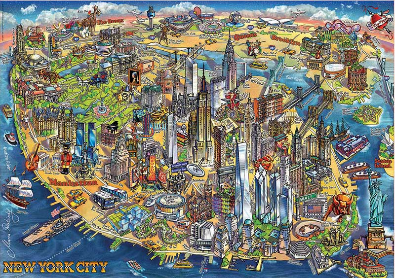 Puzzle Educa Mapa de Nueva York de 500 Piezas