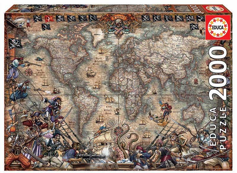 Puzzle Educa Mapa de Piratas de 2000 Piezas