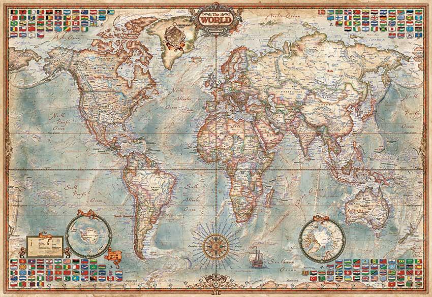 Puzzle Educa Mapa Político (Piezas Miniaturas) 1000 Piezas