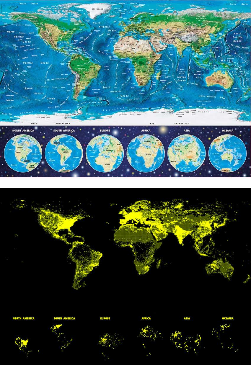 Puzzle Educa Mapamundi Físico (Neón) de 1000 Piezas